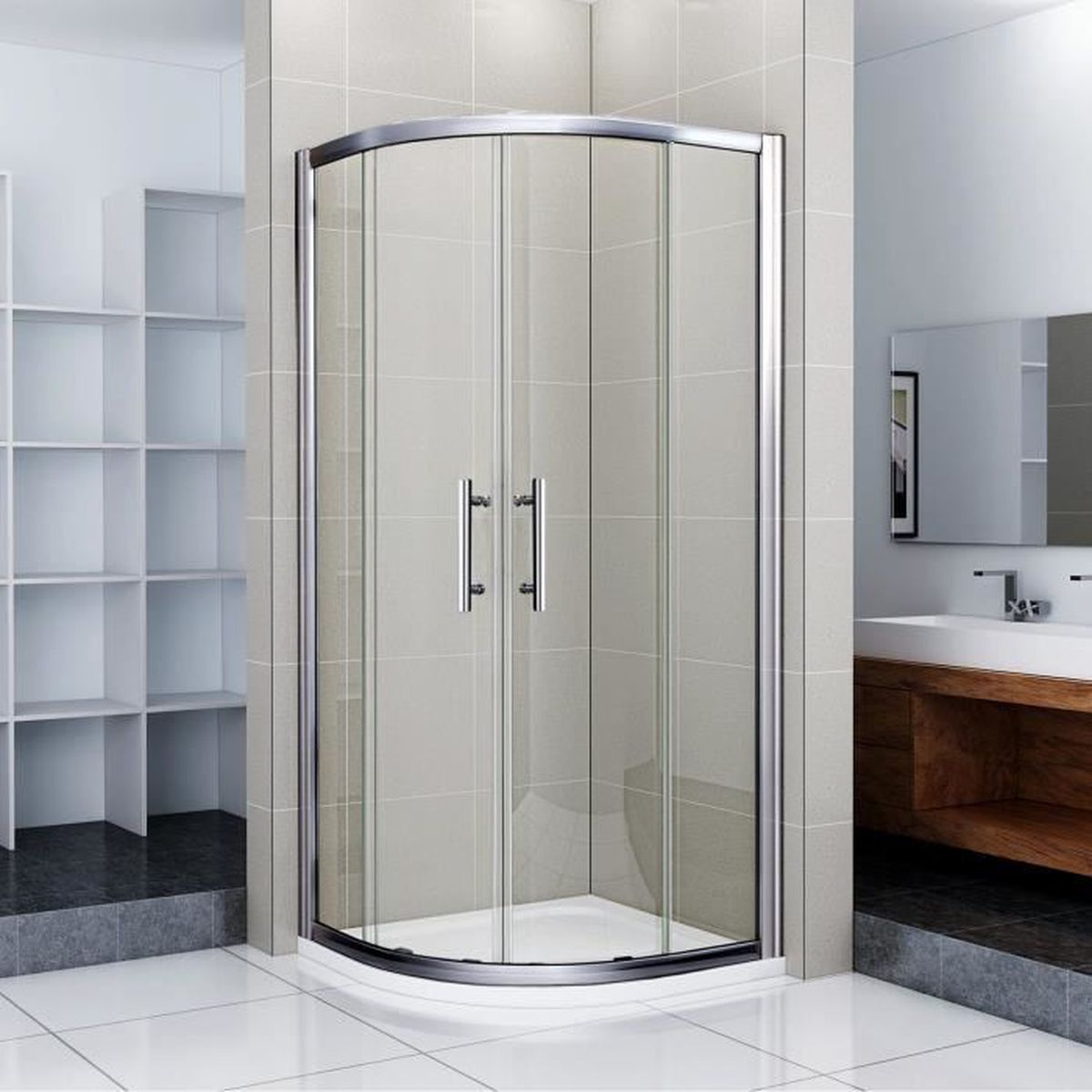 80 80 195cm shower enclosure 1 4 rond porte de douche coulissante anticalcaire achat vente. Black Bedroom Furniture Sets. Home Design Ideas