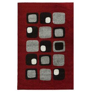 TAPIS Tapis de salon Cosi rouge, gris et noir