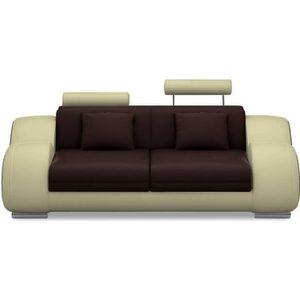CANAPÉ - SOFA - DIVAN Canapé 2 places design relax OSLO en cuir marron e