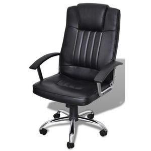CHAISE DE BUREAU Fauteuil de bureau cuir ergonomique noir classique