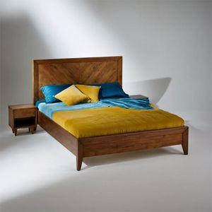 LIT COMPLET Lit double BRADLEY en bois massif + Sommier 160 x