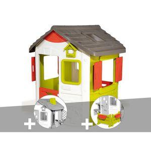 MAISONNETTE EXTÉRIEURE Cabane enfant Neo Jura Lodge - Smoby + Cheminée +