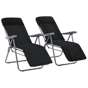 FAUTEUIL JARDIN  Chaises pliables de jardin avec coussin 2 pcs Noir