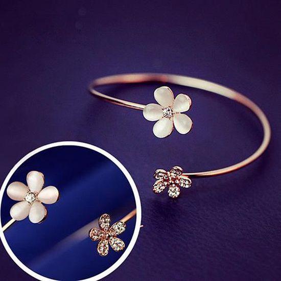 Mode Charme Femmes Fleur Cristal Or Plaqué Cuff Bracelet Bangle Bijoux Cadeau