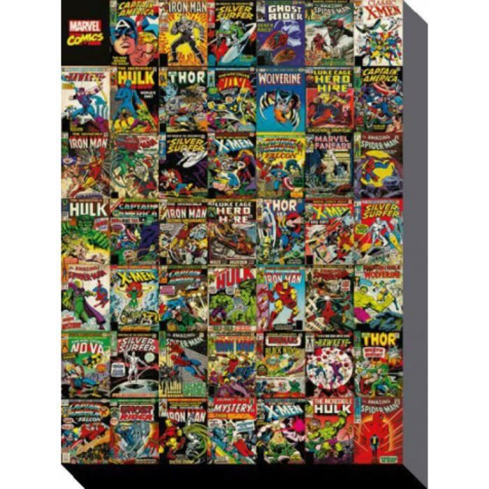 marvel comics poster reproduction sur toile tendue sur ch ssis collection de couvertures 80. Black Bedroom Furniture Sets. Home Design Ideas