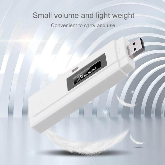 USB Lecteur d'identité rechargeable d' écran OLED de haute luminosité pour animaux pour intérieur de la maison ou au soleil---RAC