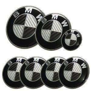 KIT 7 Badge LOGO Embleme BMW Carbone Noir Gris Capot + Coffre 74mm +Volant + 4 centre de roue