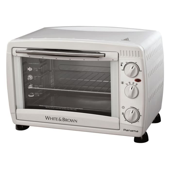 WHITE & BROWN MF 285-Mini four-26 L-1500 W-Voûte sole ou convection et chaleur tournante-Blanc