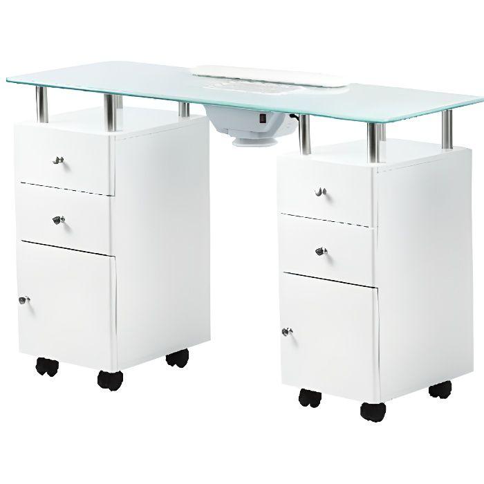 Table manucure professionnelle, plateau verre Design