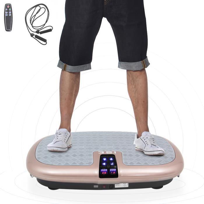 ISE Plateforme vibrante oscillante,Shaper plate plateforme plaque avec 2 Cordes de Traction ,Pour maigrir cardio Fitness SY-8009-GD