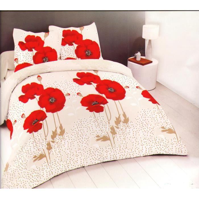 Coquelicot - Parure de drap - Lit 2 Places -Grande largeur- - 4 pièces (160x200cm)