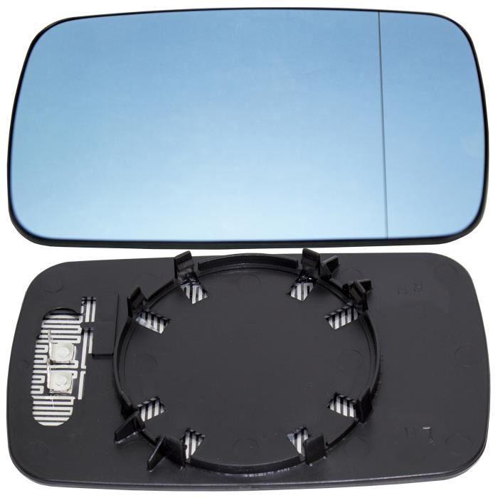 Plaque Vitre Miroir BMW Serie 3 E90 05-08 Rétroviseur Droite Asphérique Bleu