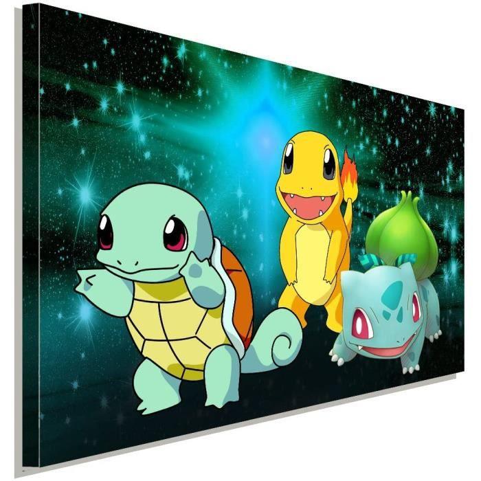 Poster sur toile Pokemon Shiggy Glumanda Bisasam Game LaraArt Studio Décoration murale 40 x 30 cm384