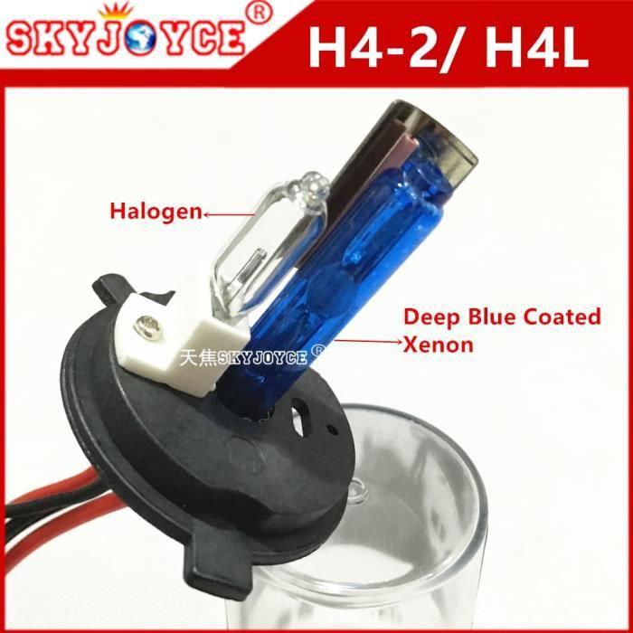 6000k 35W -Double halogène hid xenon revêtement bleu foncé, 2 pièces, H4 35W 55W, remplacement Xenon H4L, film à revêtement bleu fon