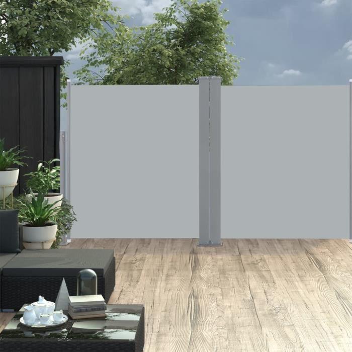 & jolie9005Bon Paravent extérieur rétractable Auvent latéral double rétractable de patio - Store Brise Vue 170x600cm Anthracite