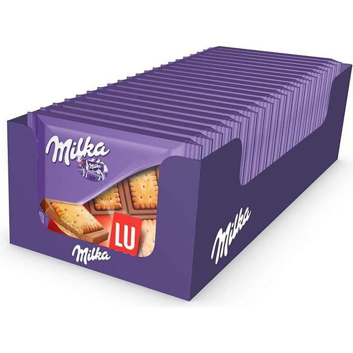 Milka LU Pocket - Mini Tablettes de Chocolat au Lait au Biscuit LU - Format Poche Facile à Emporter - Présentoir de 20 Mini Tablette