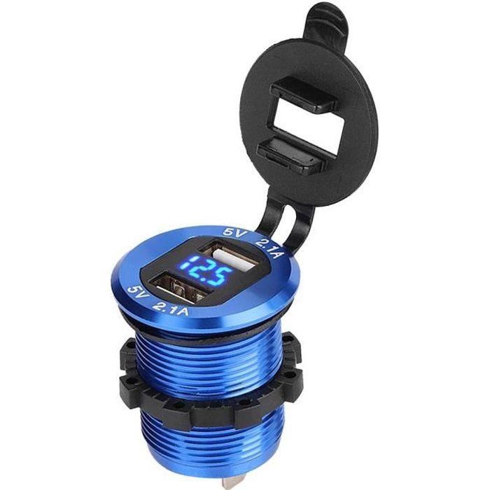 Atyhao prise allume-cigare moto 12-24V adaptateur secteur allume-cigare double chargeur USB avec voltmètre LED pour moto