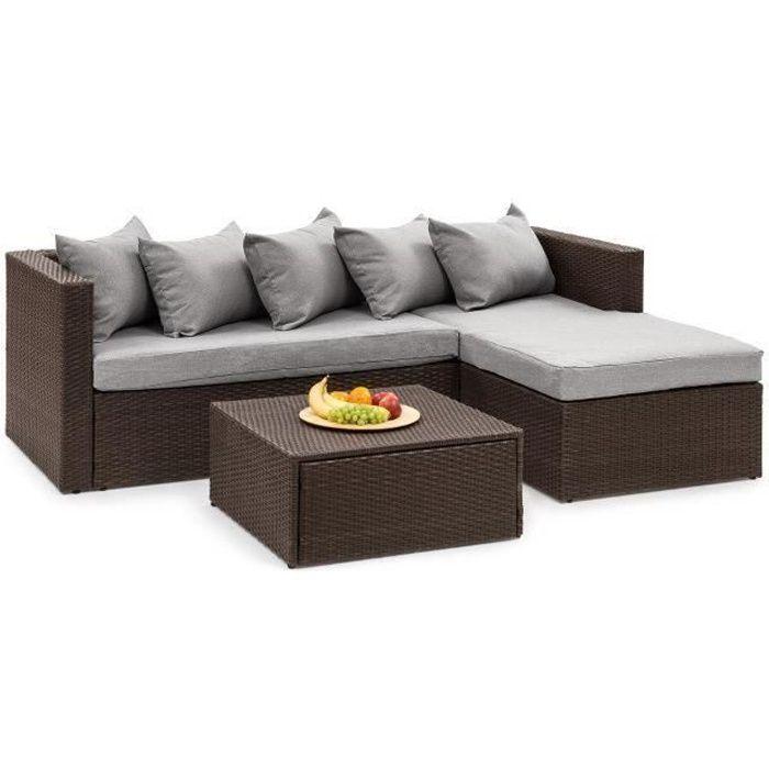 Blumfeldt Theia Lounge Salon de jardin 5 places en résine tressée - canapé, table, coussins & housses gris clair - polyrotin marron