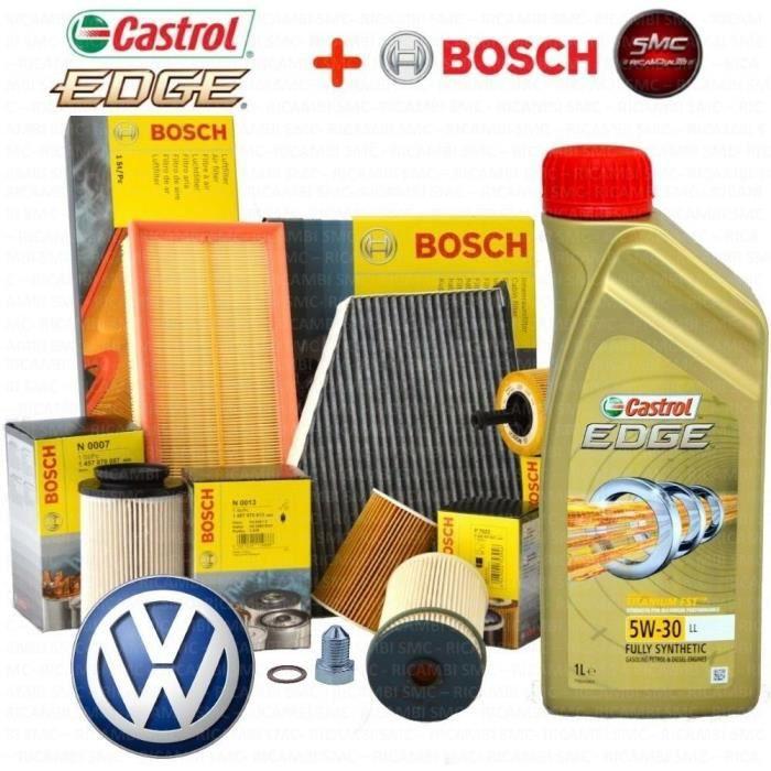KIT DE REVISION 4 FILTRES BOSCH VW - 5 L HUILE MOTEUR CASTROL EDGE 5W30 VW GOLF VI (5K1) 2.0 TDI 125 KW 170 CH