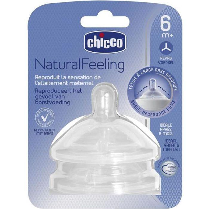 CHICCO Tétine NaturalFeeling droite - Flux repas - 6m+ - x2