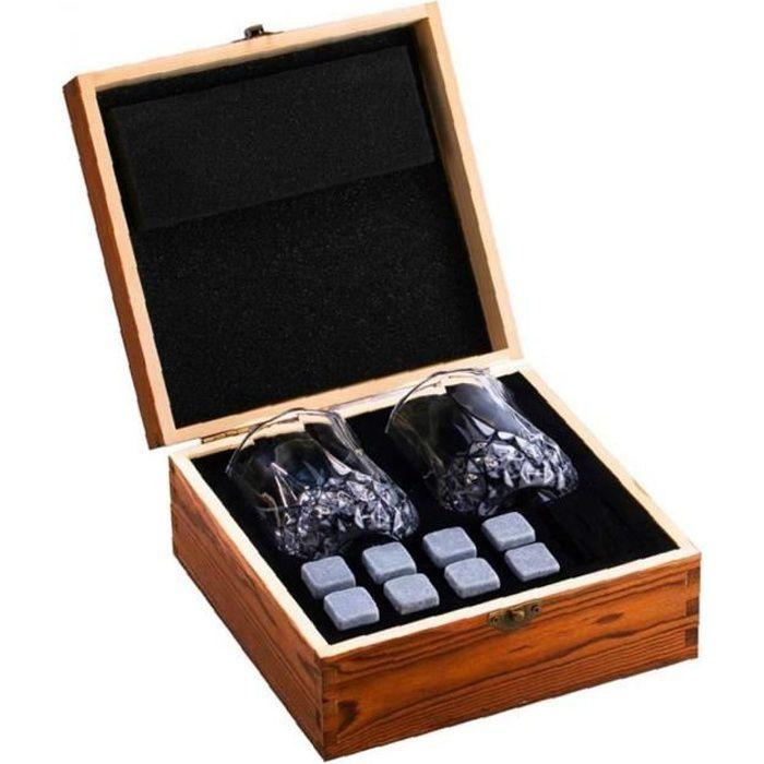 Vin Coffret cadeau Pierres Whisky Coffret cadeau whisky Chilling Rocks avec des lunettes Boîte en bois pour cadeau d'anniversaire