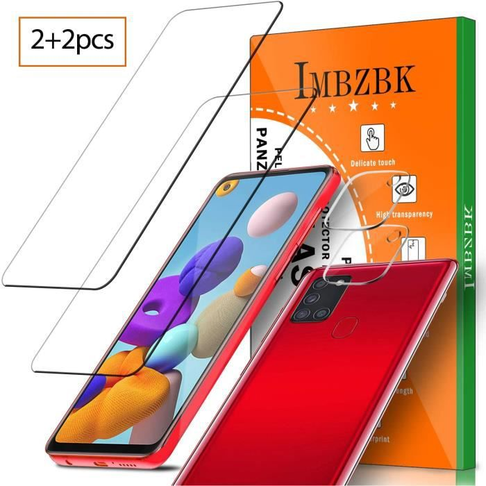 [4 Pack] 2 Pack Verre Trempé pour Samsung Galaxy A21s Protection écran + 2 Pack Caméra Arrière Protecteur Samsung Galaxy A21s