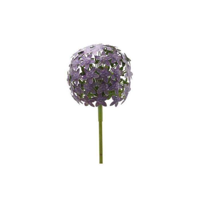 Fleur d'Allium sur Tige Décoration Florale pour Jardin Massif ou Pot de Fleur en Métal Coloré Vert et Violet 20x20x116cm 116 Vert
