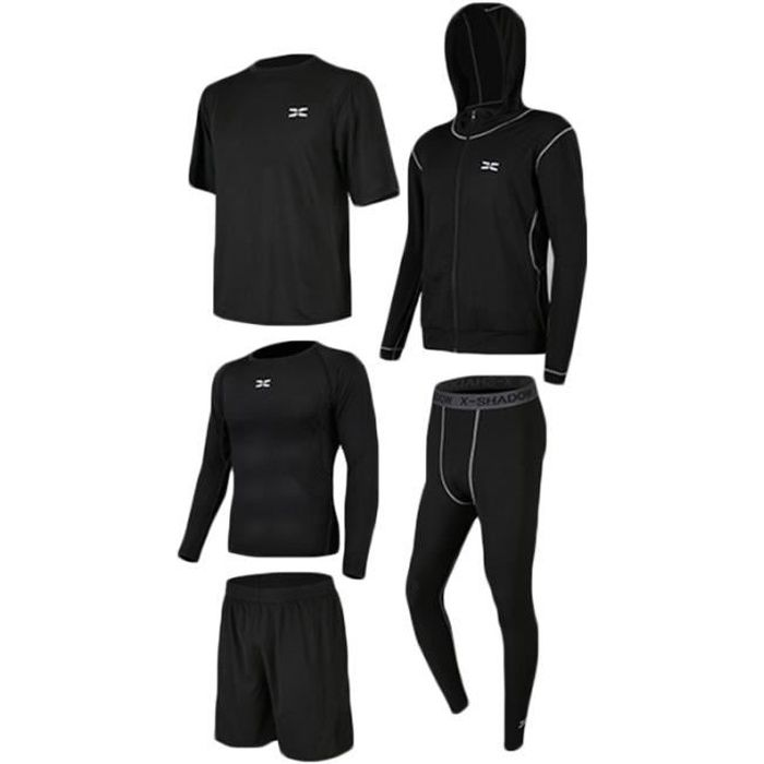 Ensemble de Vetement Sport Homme 5 Pieces Fitness Running