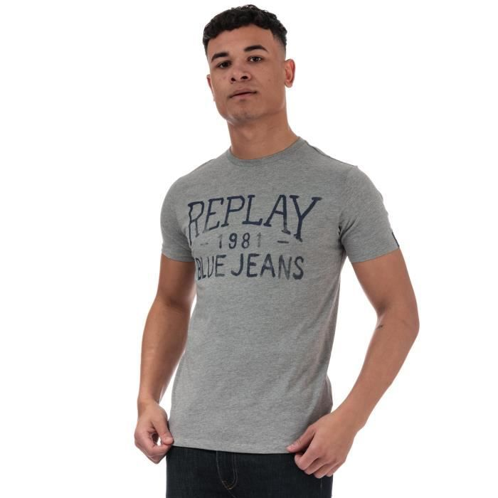 Replay T-Shirt Vintage Jeans Logo Grey Homme