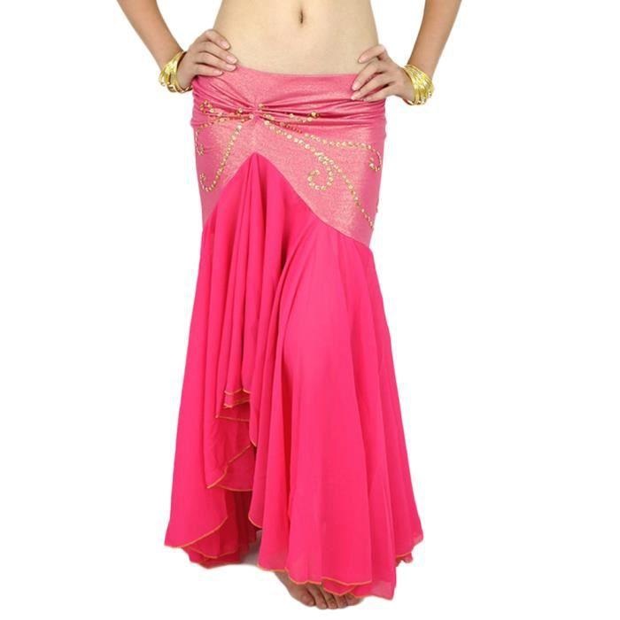 Femme Longue Jupe De Danse Professionnel Arabe Orientale Belly Danse Rose 2 Taille unique