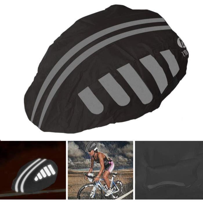 Housse de Protection Contre la Pluie pour Casque de vélo avec Bandes réfléchissantes, Haute visibilité, Housse imperméable Anti-pous