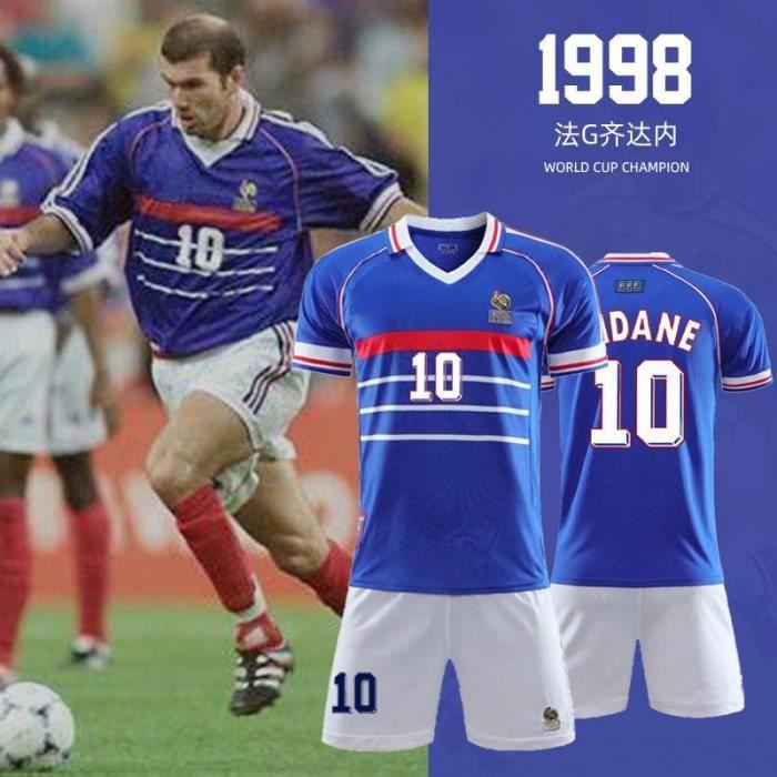 Maillot Zidane France Rétro 1998 France 10 Maillot de Football Zinedine Zidane Football T-Shirt Jersey Set