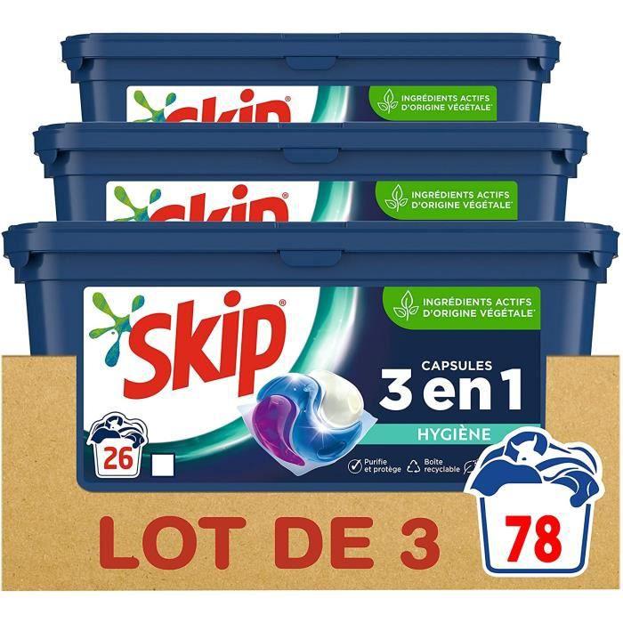 SKIP Lessive Capsules 3 en 1 Ultimate Hygiène - 78 Lavages (Lot de 3x 26 Lavages) - 0,702 kg