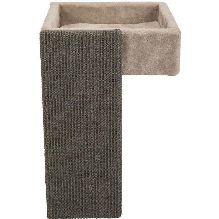 TRIXIE Lit pour étagères avec griffoir - 33 x 48 x 37 cm - Beige et gris - Pour chat