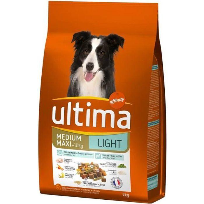 Ultima Croquettes Light Chiens Adult Medium Maxi +10 Kg Poulet Riz Format 2Kg (lot de 3)