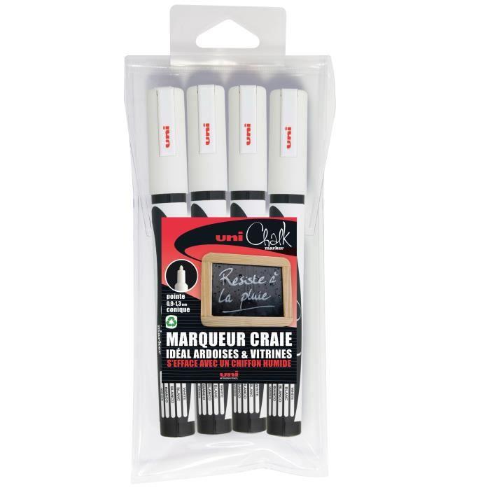 Etui de 4 marqueurs craie Pte conique fine CHALK Marker PWE3MS-4 0,9 - 1,3mm Blanc