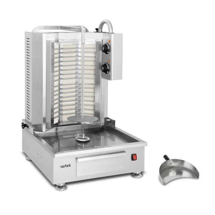 Vertes Schawarma Grill (acier inoxydable, puissance 4800 Watt, 2 zones de chauffage, 50 - 300°C plage de température)