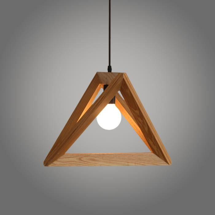 Suspension design triangle en bois 42cm 110 220v ampoules for Suspension bois luminaire