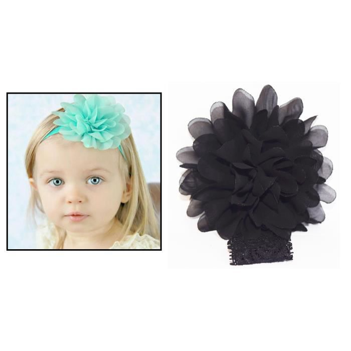bandeau dentelle cheveux fille enfant b b fleur pompom noir achat vente barrette. Black Bedroom Furniture Sets. Home Design Ideas