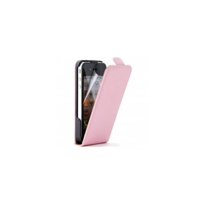 Coque housse etui a clapet en cuir iphone 4 4s rose for Housse cuir iphone 4
