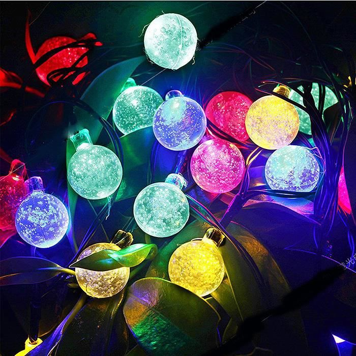 lampe guirlande 30 led lumi re d coration cordon 6m solaire boules cristal achat vente. Black Bedroom Furniture Sets. Home Design Ideas