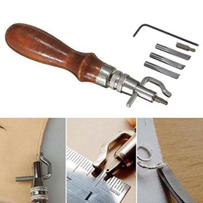 5 En 1 Outils Couture Groover Creaser R/églable pour Artisanat de Cuir