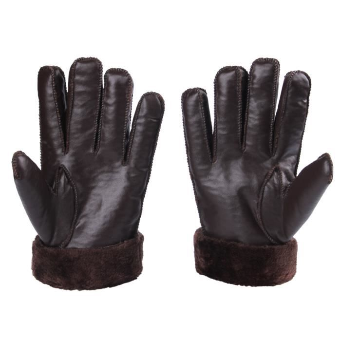 gant cuir pais gloves chaud moto relaxation homme caf hiver achat vente gant mitaine. Black Bedroom Furniture Sets. Home Design Ideas