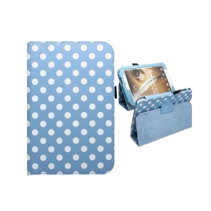 Etui housse pois polka galaxy note 8 0 n5100 bleu achat for Housse galaxy note 8