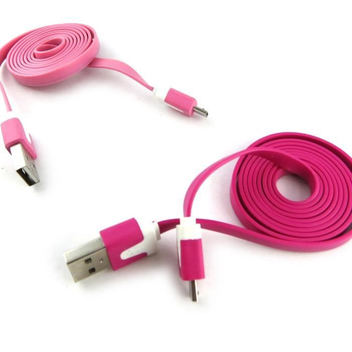 2 cables usb t l phones coloriage rose fuschi achat. Black Bedroom Furniture Sets. Home Design Ideas