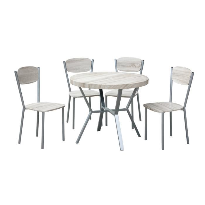 Ensemble Table 4 Chaises Contemporain Bois Métal Pithivier