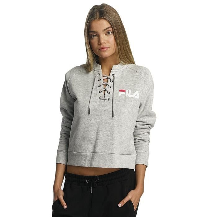 fila femme hauts sweat pull line crew gris gris achat vente pull sweat cdiscount. Black Bedroom Furniture Sets. Home Design Ideas