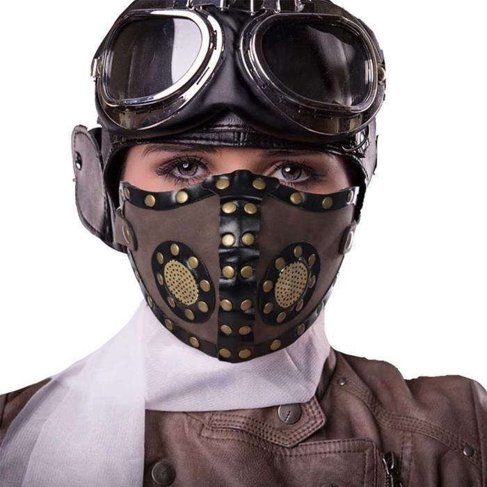 CoURTerzsl Halloween Masque Punk Masque PU Cuir Moto Motard moiti/é Visage Masque Cosplay Punk Masque