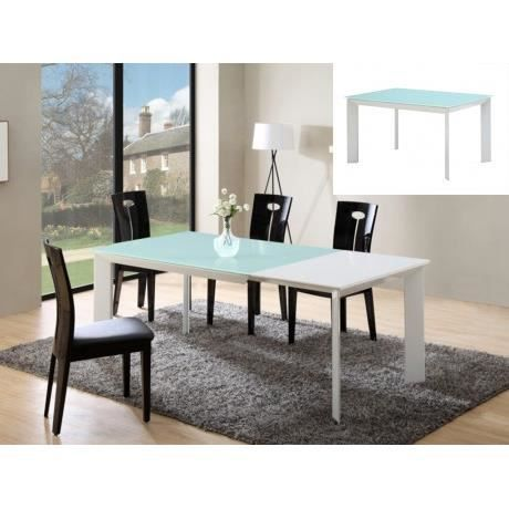 Table extensible arielle 6 8 couverts mdf verre for Table extensible 6 a 8 personnes blooma