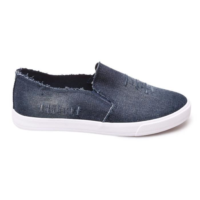 La Modeuse - Baskets slip-on en jean déchiré v2GB2OF